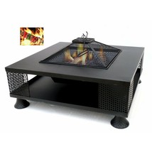 Square Scorching Metal Fire Pit Outdoor Patio Heater Deck Backyard Firep... - $299.99