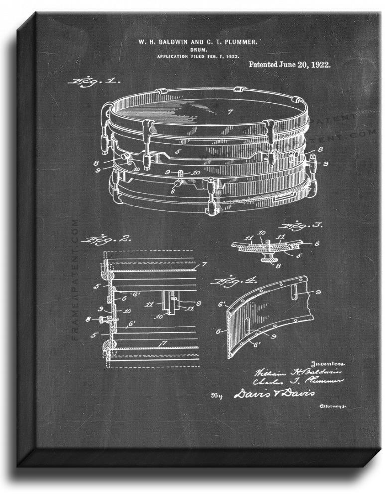 Primary image for Drum Patent Print Chalkboard on Canvas