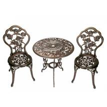 Outdoor Seating Furniture with Three Piece Cast Aluminum Bistro Set Bron... - $179.99