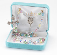 Sterling Silver Rosary made with Multi Color Swarovski Crystals - $161.12