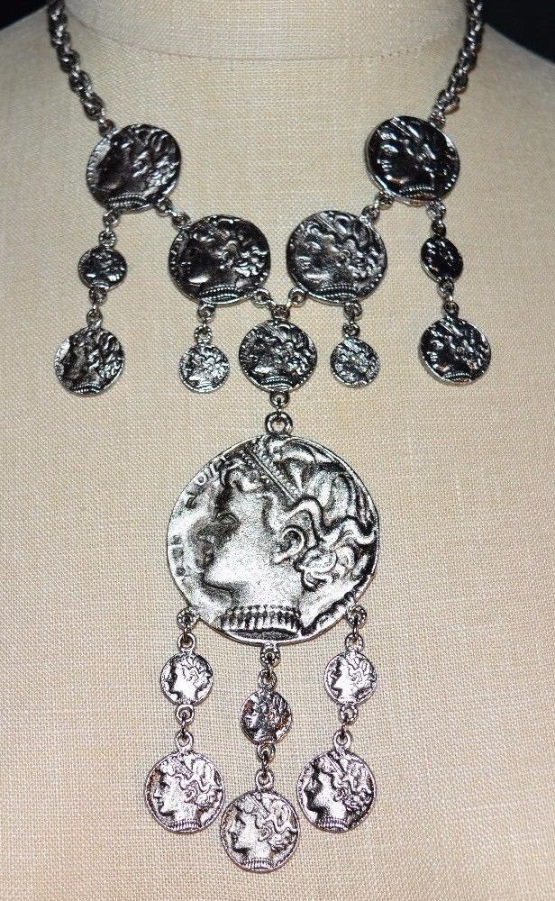 Primary image for VINTAGE 1970'S Modern Trifari Ancient Greco-Roman Silver Tone Coin Necklace
