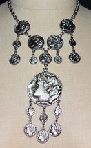 VINTAGE 1970'S Modern Trifari Ancient Greco-Roman Silver Tone Coin Necklace - $296.99
