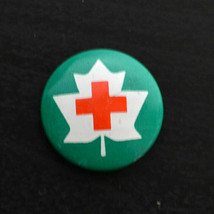 Vintage Small Pinback Button Pin Green CANADIAN RED CROSS 1970s - $15.50
