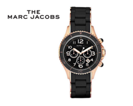 Marc Jacobs Watch MBM2553 Urethane Band Black Rose Gold NWT - $217.04