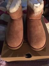 New! Womens UGG W Mini Bailey Button Sheepskin Boots Sz 5 Brown - $75.00