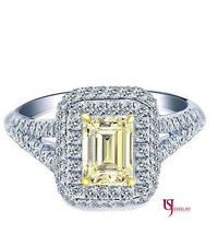 1.48 ct Light Yellow Emerald Cut Diamond Engagement Halo Ring Split Shan... - €2.488,72 EUR