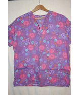 Purple Women's Scrub Top Colorful Peace Symbol Print  Sz L/XL - $6.99