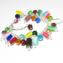 Cane Glass and Chez Glass Charm Bracelet - $24.95
