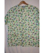 Yellow Women's Scrub Top Colorful Bug/Leaf Print  Sz L/XL - $6.99
