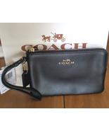 NWT Coach Crossgrain Leather Corner Zip Wristlet F54626 - Black - $39.99