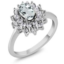 1.32 Ct Oval Sky Blue Aquamarine 925 Sterling Silver Ring - $112.30