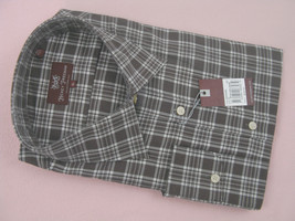 NEW! NWT! $245 Hickey Freeman Crisp Oxford Shirt!  S  *Muted Brown Plaid* - $99.99