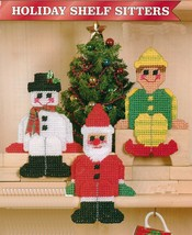 Plastic Canvas Xmas Shelf Sitters Santa Snowman Elf Treat Holder Hanger ... - $6.99