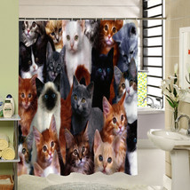 2017 New Cute Cat Shower Curtain Custom Cartoon Pattern 3d Print Bathroo... - $33.14