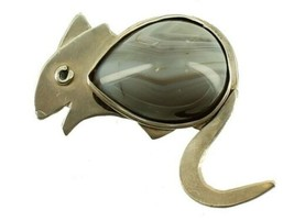 "Vintage Sterling Grey Banded Agate Raya Adorable Smiling Rat Mouse Pin Mice  2"" - £41.23 GBP"