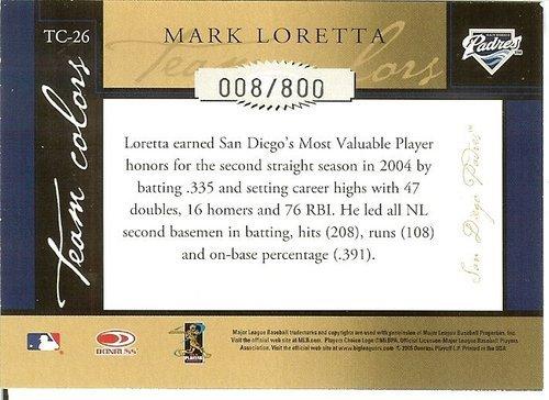 2005 donruss San Diego padres mark loretta serial #8/800
