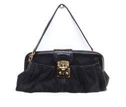 New Women's DKNY Handbag Bag Black Signature Clutch Leather Trim - $39.15