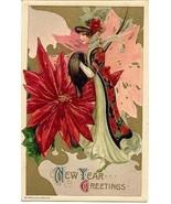 Poinsetta Lady Samuel Schmucker unsgd Vintage 1910 Post Card - $45.00