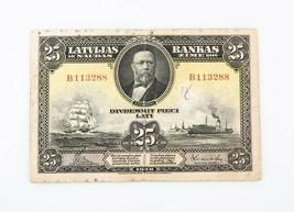 1928 Lettonia 25 Latu Nota F Latvijas Bankas Twenty-Five Sottile Serie B... - $124.62