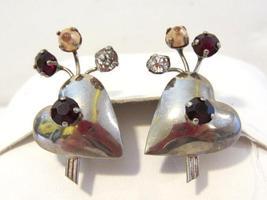 Vintage sterling silver 925 rhinestone & faux pearl screw back earrings - $22.00