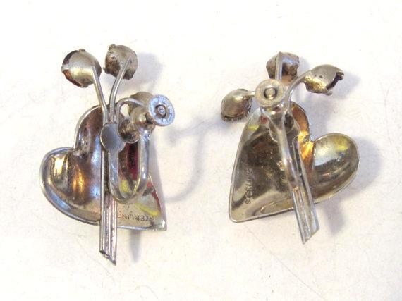 Vintage sterling silver 925 rhinestone & faux pearl screw back earrings