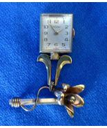 Vintage Wyler Mid Century Floral Yellow Gold Filled Pendant Watch Pin Ha... - $145.00