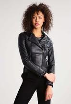 Women's Leather Motorcycle 100% Biker Jacket Real Genuine Soft Lambskin -107