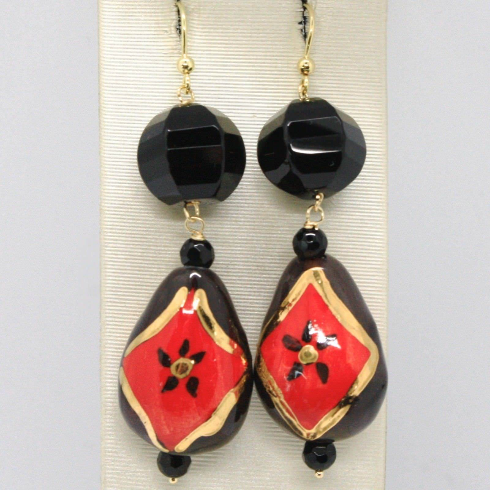 YELLOW GOLD EARRINGS 18K WITH ONYX AND CERAMICS HAND-PAINTED MADE IN ITALY