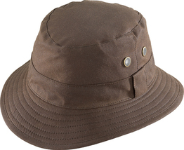 Henschel Adventurer Oilcloth Bucket Hat Plaid Cotton Lining Eyelets Black Brown - £39.07 GBP