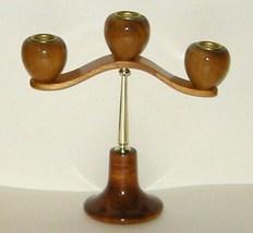 Oregon Myrtlewood Myrtle Wood Three Candle Holder Candelabra  - $18.00