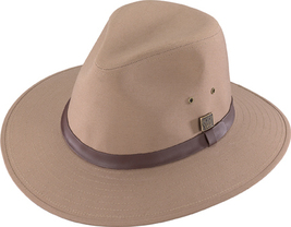 Henschel Polyester Safari Hat Waterproof Wide Brim Leather Band Khaki Black - £39.84 GBP