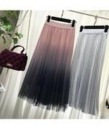 Tulle Skirt Women 2019 Spring Summer Gradient Korean Elegant High Waist ... - $24.49