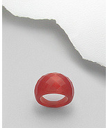 Red Fiber Optic Glass Cat's Eye Faceted Dome Ring - $19.95