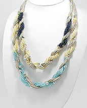 Seed Bead Cotton Silvertone Bead Double Twisted Necklace - £20.25 GBP