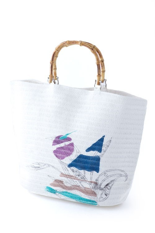 Primary image for Summer White Straw Painted Sail & Moon Tote Bag Handbag with Bamboo Handles