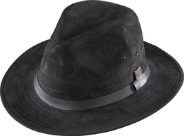 Henschel Suede Safari Hat Leather Band Fully Lined Made In USA Black Brown image 2