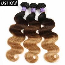 Ombre Peruvian Hair Body Wave 3 Bundles 1B/4/27 100% Human Hair Extensio... - $9.99+