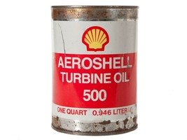 Vintage Rare Aeroshell Turbine Oil 500 Tin - Empty Red White Can -Man Ca... - $23.38