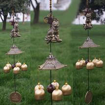 Antique 5 Bells Cooper Windchime Outdoor Wind Chimes Living Yard Garden ... - $17.20