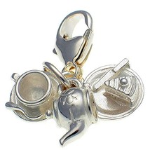 Sterling 925 Silver 3 Part Tea Set, Clip On Charm, Pot, Cake Plate, Cup ... - $24.50