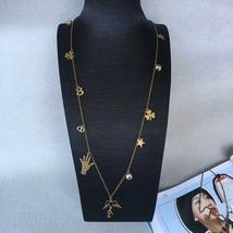 """Authentic Christian Dior """"D BOHÉMIENNE"""" CHARM NECKLACE AGED GOLD-TONE METAL image 2"""
