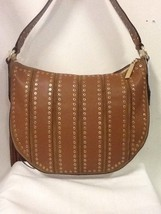 Michael Kors Dark Caramel Brooklyn Grommet Medium Convertible Hobo Cross... - $158.02
