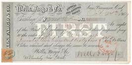 Wells Fargo & Co. First Bill of Exchange, San Francisco, November 9, 186... - $99.00
