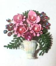 VINTAGE ENAMEL PINK RHINESTONE FLOWER BOUQUET LEAF SPRAY - $65.00