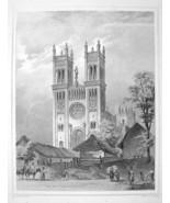 HUNGARY City of Fot Roman Catholic Church- 1870s Original Engraving Print - $35.55