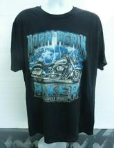 Born Again Biker Motorcycle & Lightning  2XL Black T-Shirt C-13 - $9.74