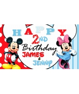 Mickey & Minnie Mouse Twin Custom Personalized Birthday Banner Party Dec... - $34.95