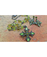 Green Rhinestone Cross Necklace and Earring Set - $18.00