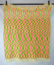 Vintage 70s Pink Green Yellow Mod Wavy Knit Afghan Couch Throw Blanket 4... - ₹4,575.51 INR