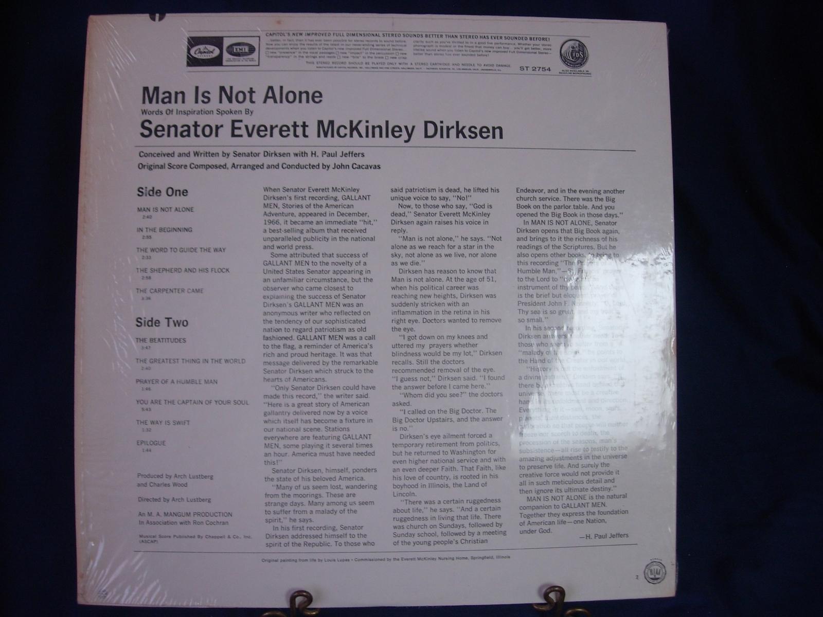 Senator Everett McKinley Dirksen - Man Is Not Alone - Capitol Records ST 2754